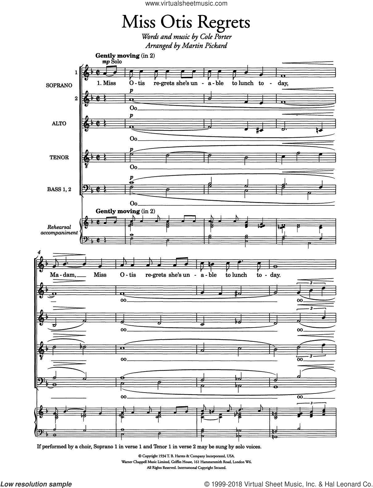 Miss Otis Regrets (arr. Martin Pickard) sheet music for choir (SSATBB) by Cole Porter. Score Image Preview.
