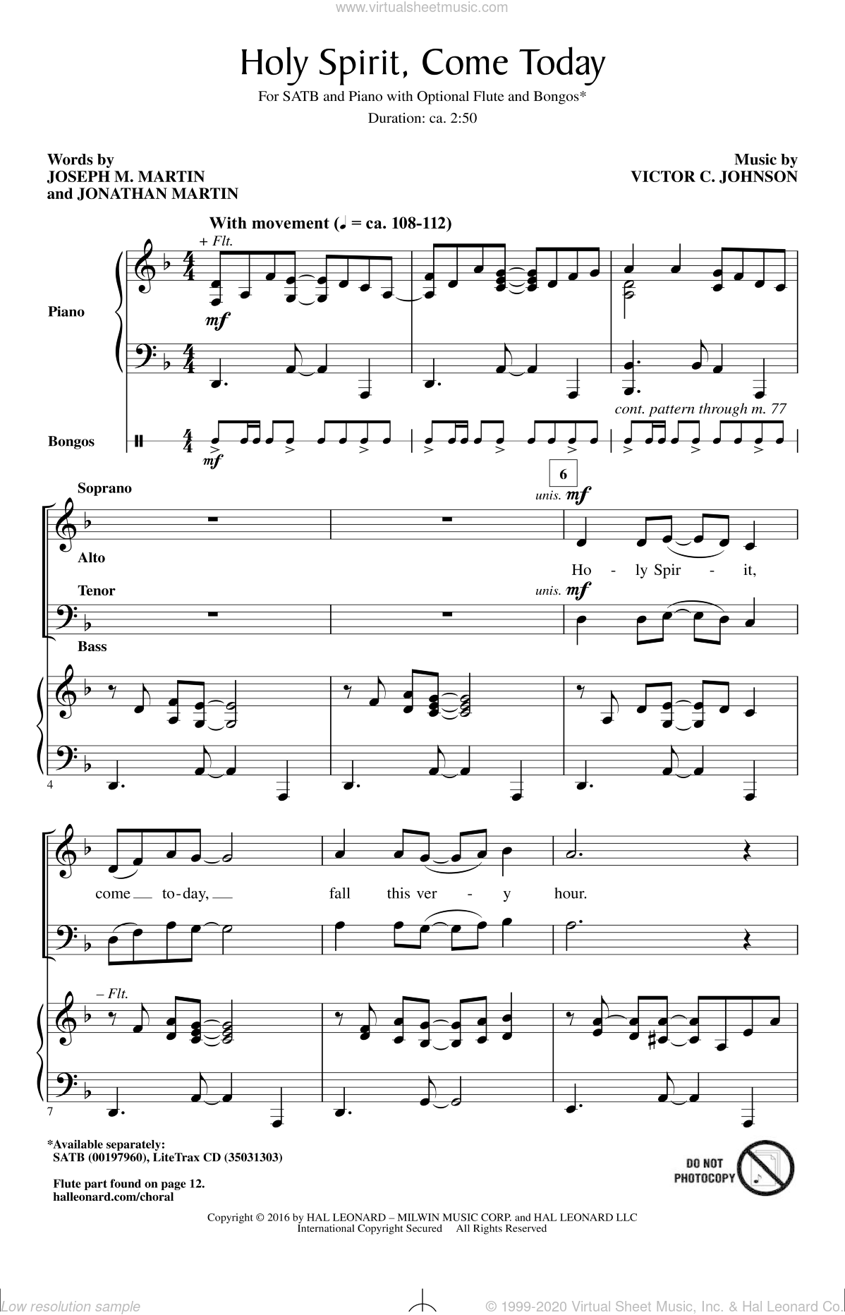 Holy Spirit, Come Today sheet music for choir and piano by Joseph M. Martin and Victor Johnson. Score Image Preview.