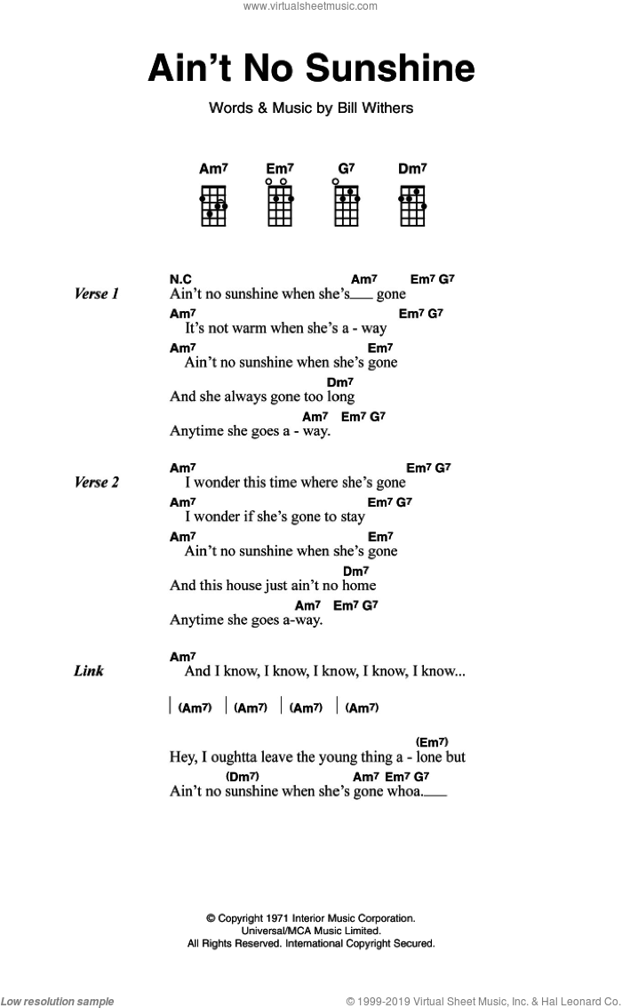 Ain't No Sunshine sheet music for voice, piano or guitar by Bill Withers, intermediate skill level