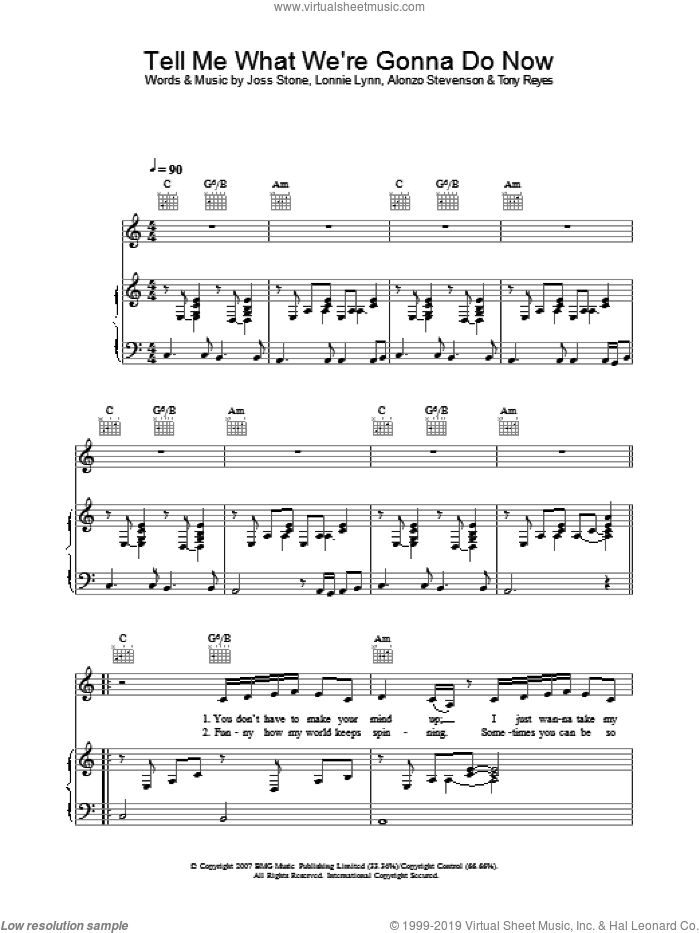 Tell Me What We're Gonna Do Now sheet music for voice, piano or guitar by Alonzo Stevenson