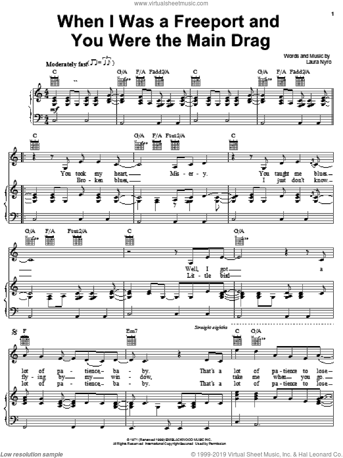When I Was A Freeport And You Were The Main Drag sheet music for voice, piano or guitar by Laura Nyro. Score Image Preview.