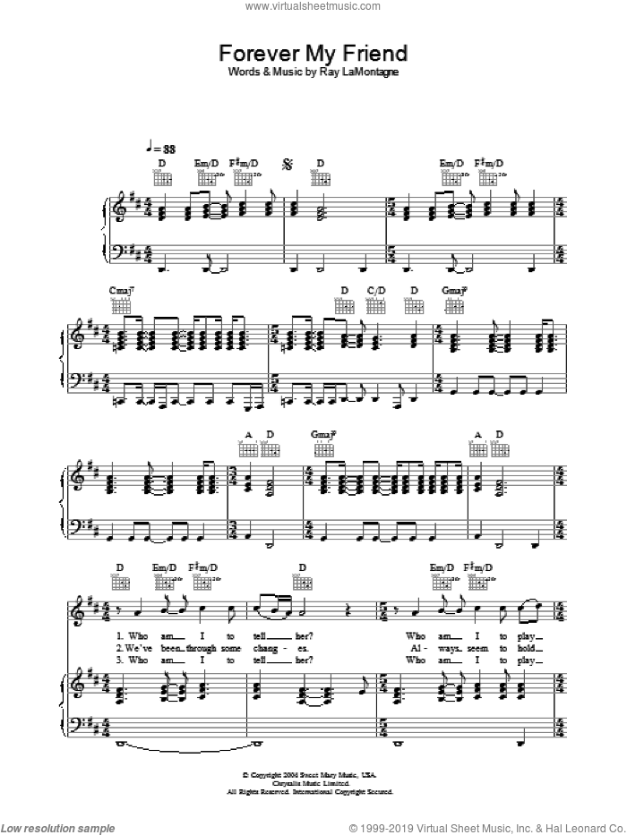 Forever My Friend sheet music for voice, piano or guitar by Ray LaMontagne, intermediate. Score Image Preview.