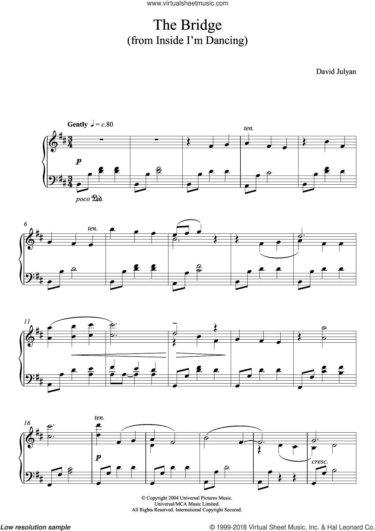 The Bridge (from Inside I'm Dancing) sheet music for piano solo by David Julyan, intermediate skill level