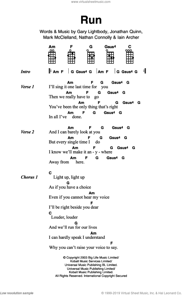 Run sheet music for voice, piano or guitar by Snow Patrol, Leona Lewis, Gary Lightbody, Iain Archer, Jonathan Quinn, Mark McClelland and Nathan Connolly, intermediate skill level