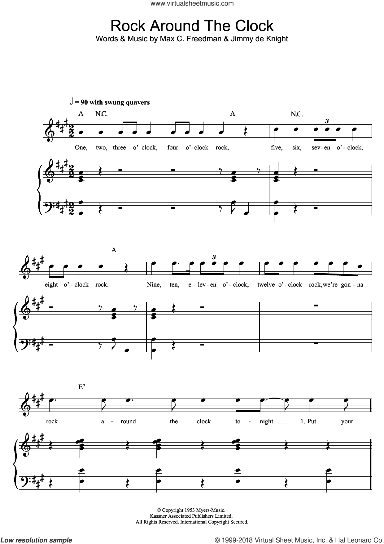 Rock Around The Clock sheet music for voice, piano or guitar by Bill Haley & His Comets, Jimmy De Knight and Max C. Freedman, intermediate skill level