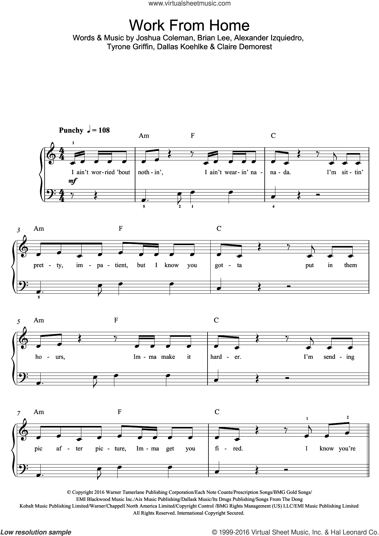 Work From Home (featuring Ty Dolla $ign) sheet music for voice, piano or guitar by Fifth Harmony, Ty Dolla $ign, Alexander Izquiedro, Brian Lee, Claire Demorest, Dallas Koehlke, Joshua Coleman and Tyrone Griffin, intermediate skill level
