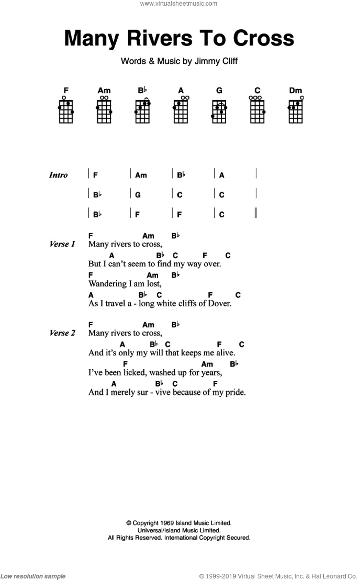 Many Rivers To Cross sheet music for voice, piano or guitar by Jimmy Cliff and UB40, intermediate skill level