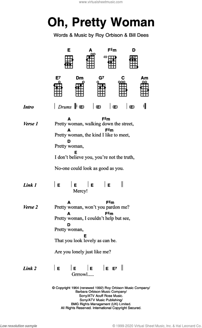 Orbison   Oh, Pretty Woman sheet music for ukulele chords [PDF]