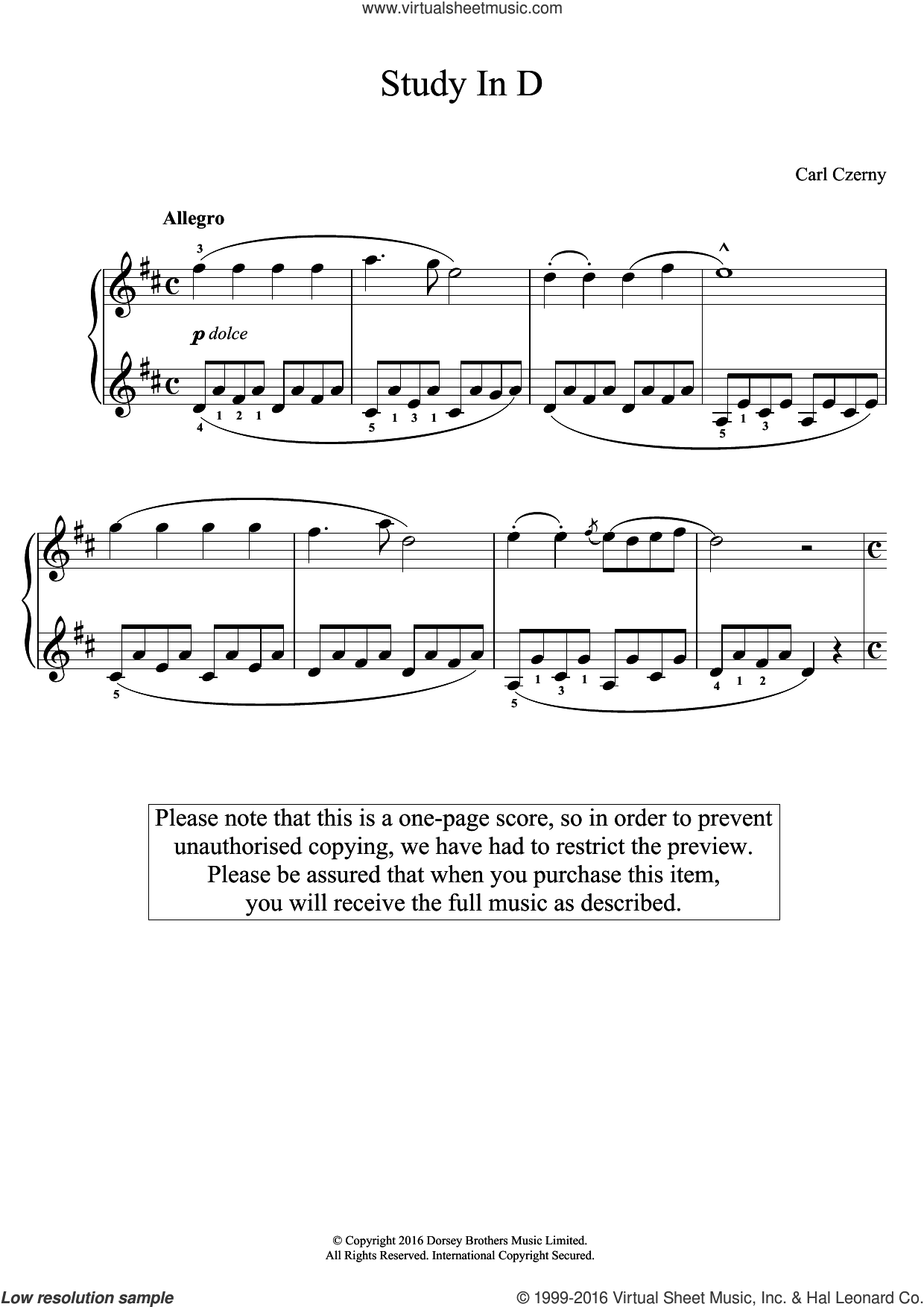 Study In D sheet music for piano solo by Carl Czerny, classical score, easy skill level