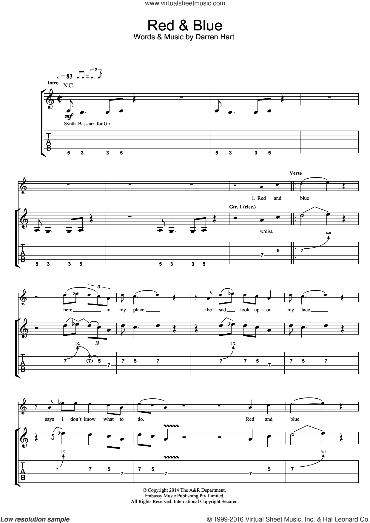 Red And Blue sheet music for guitar (tablature) by Darren Hart and Harts. Score Image Preview.
