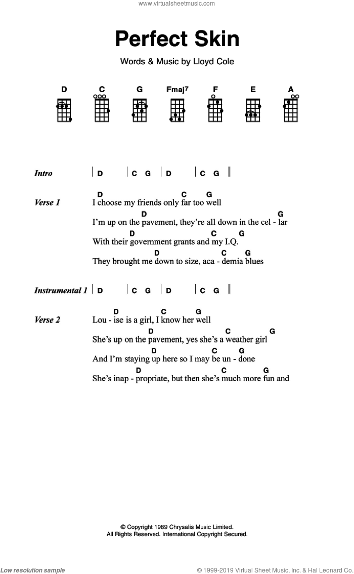 Perfect Skin sheet music for voice, piano or guitar by Lloyd Cole, intermediate skill level