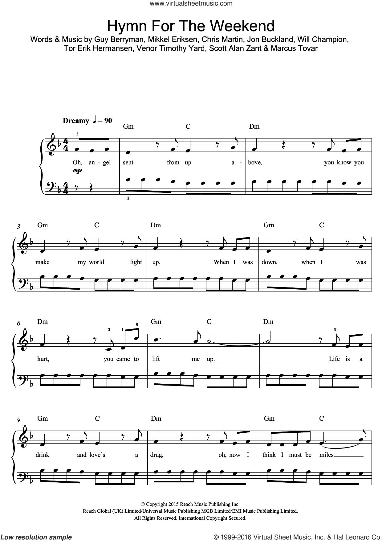 Hymn For The Weekend sheet music for voice, piano or guitar by Coldplay, Chris Martin, Guy Berryman, Jon Buckland, Marcus Tovar, Mikkel Eriksen, Scott Alan Zant, Tor Erik Hermansen, Venor Timothy Yard and Will Champion, intermediate skill level