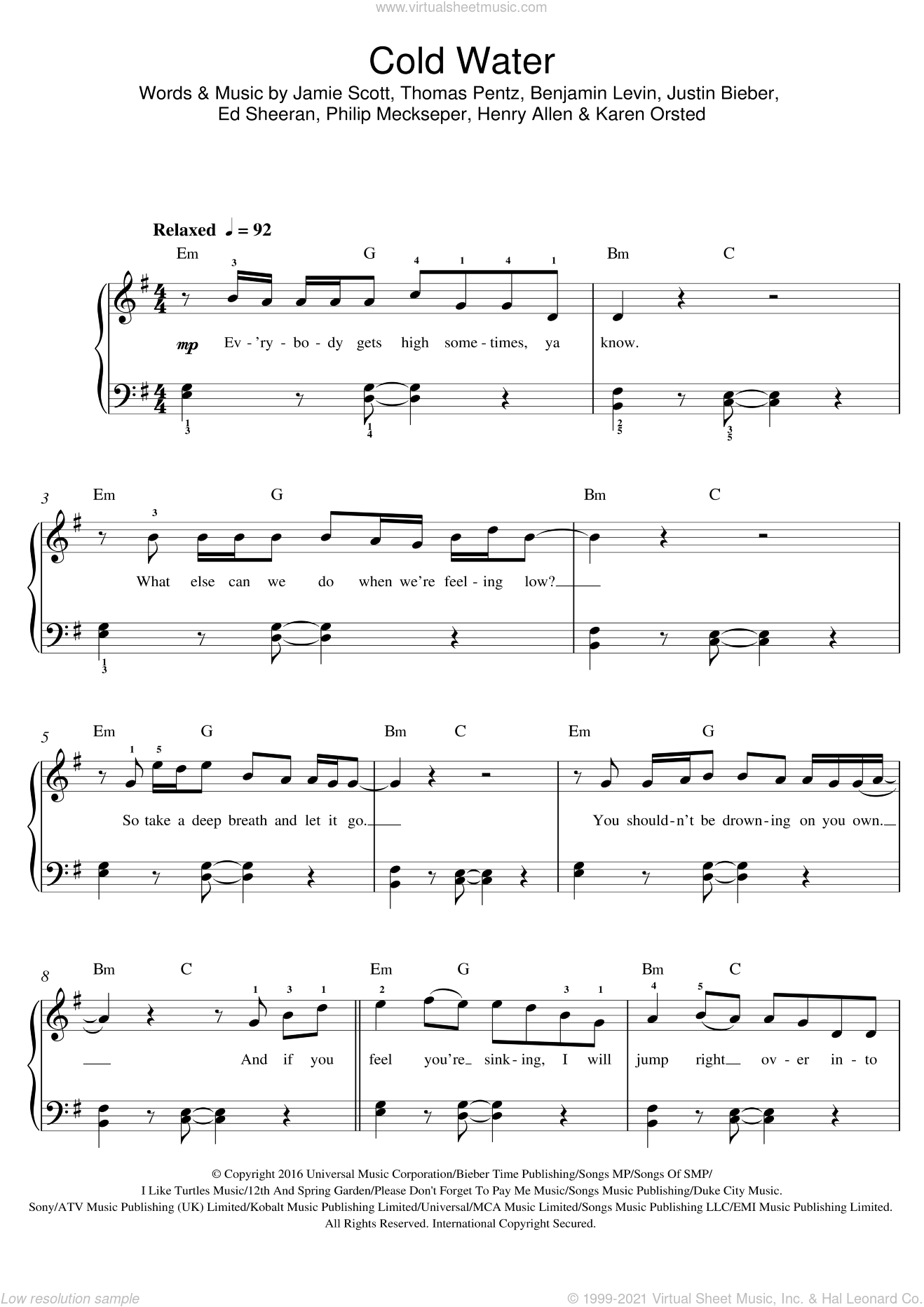 Cold Water (featuring Justin Bieber) sheet music for voice, piano or guitar by Thomas Wesley Pentz, Benjamin Levin, Ed Sheeran, Jamie Scott, Justin Bieber and Karen Orsted. Score Image Preview.