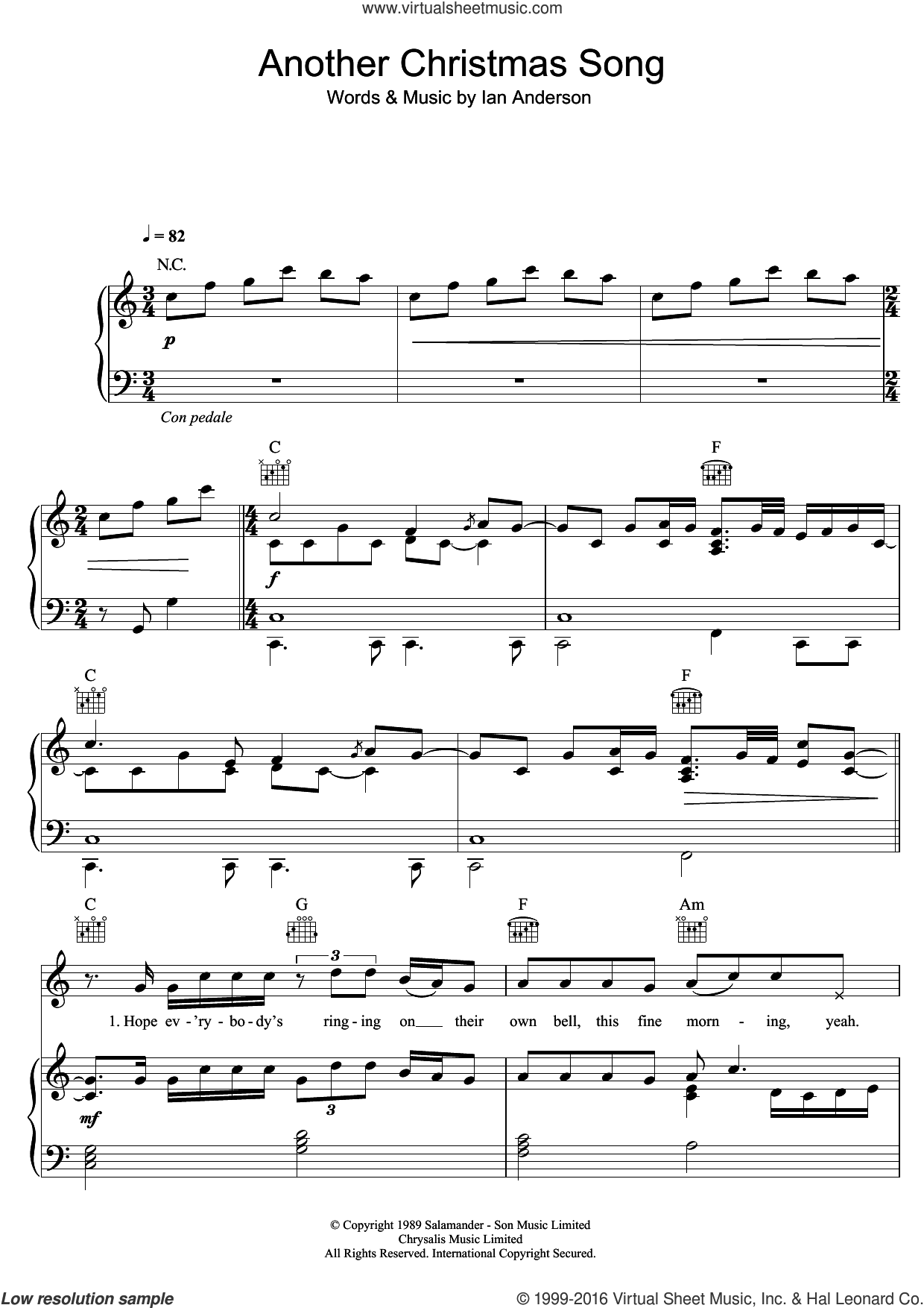 Another Christmas Song sheet music for voice, piano or guitar by Jethro Tull and Ian Anderson, intermediate skill level