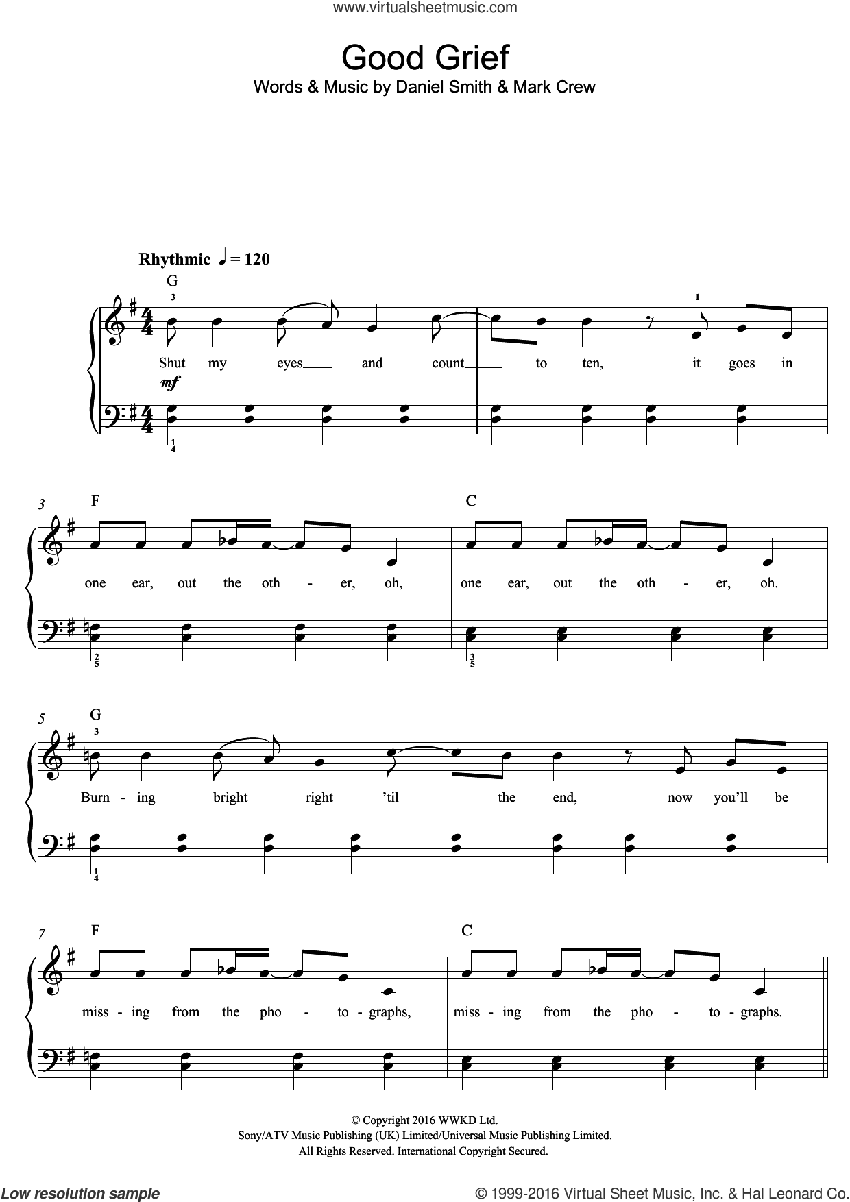 Good Grief sheet music for voice, piano or guitar by Mark Crew, Bastille and Daniel Smith. Score Image Preview.