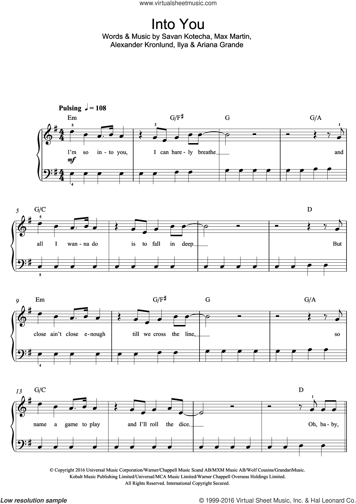 Into You sheet music for voice, piano or guitar by Savan Kotecha, Alexander Kronlund, Ariana Grande, Ilya and Max Martin. Score Image Preview.