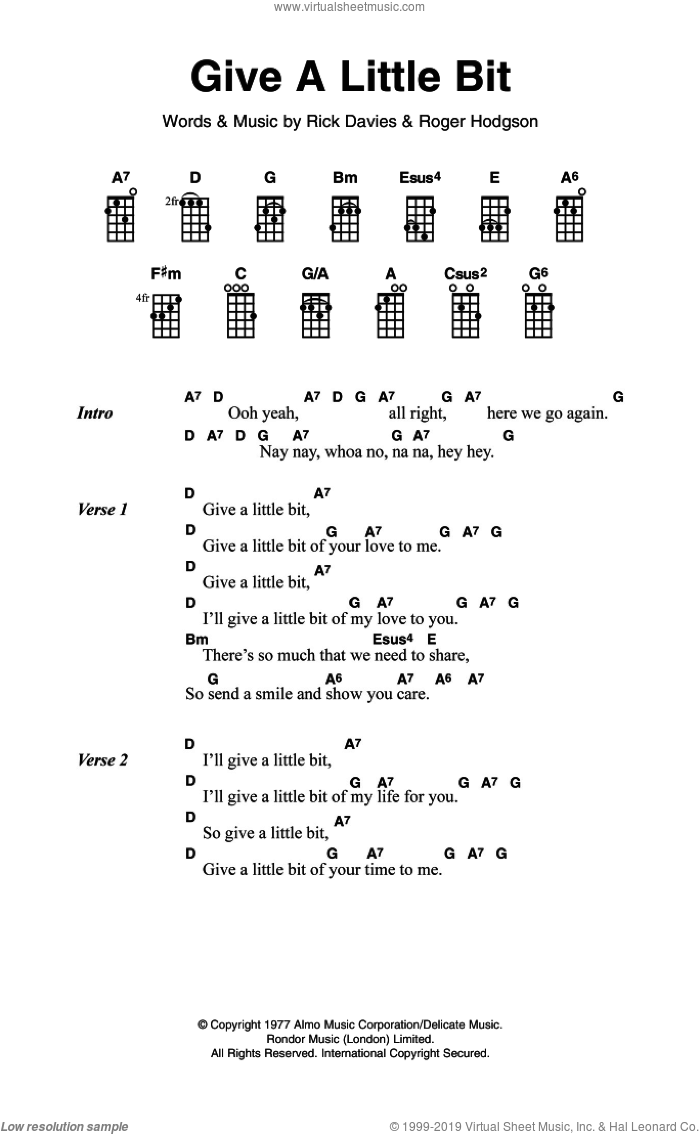 Give A Little Bit sheet music for voice, piano or guitar by Supertramp, Rick Davies and Roger Hodgson, intermediate skill level