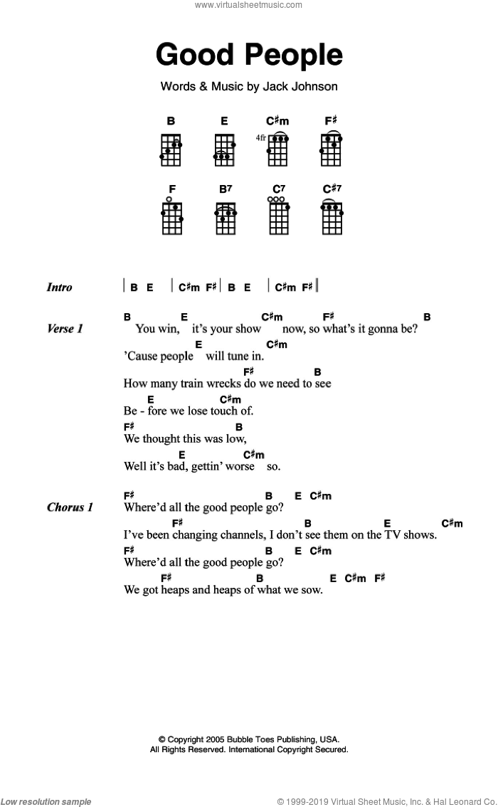 Good People sheet music for voice, piano or guitar by Jack Johnson, intermediate skill level