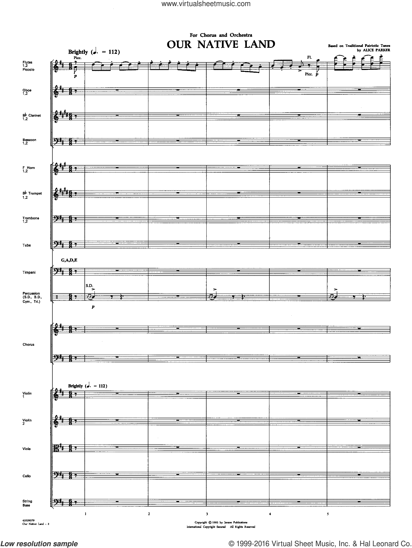 Our Native Land sheet music for orchestra/band (full score) by Alice Parker. Score Image Preview.