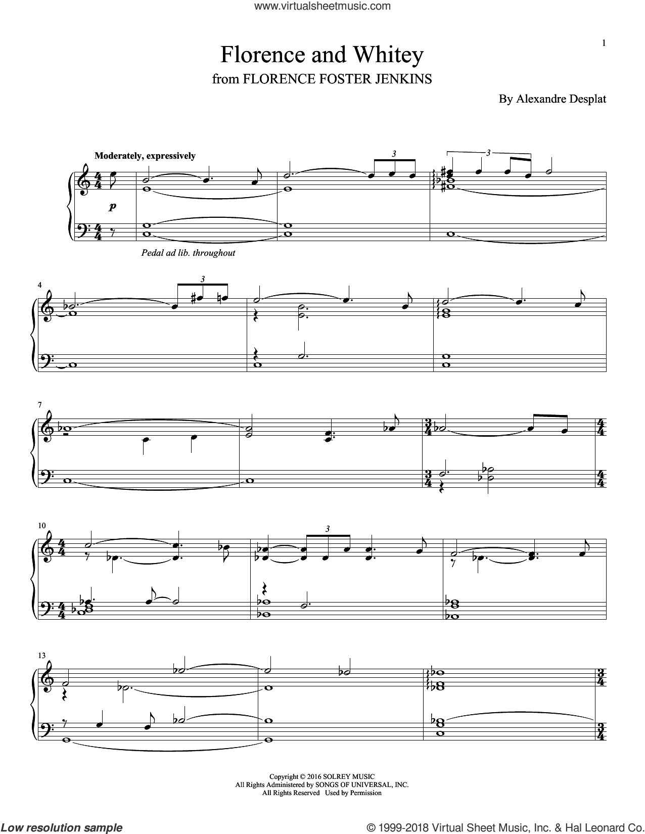 Florence And Whitey sheet music for piano solo by Alexandre Desplat, intermediate skill level