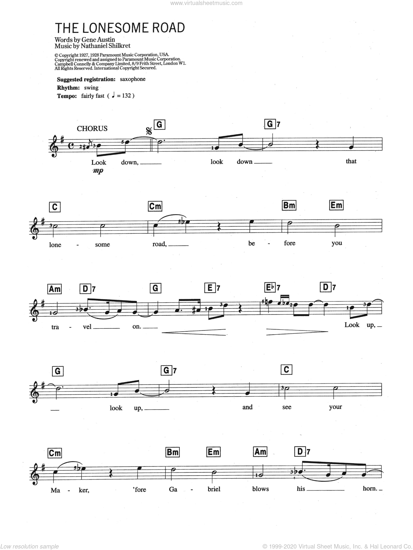 Lonesome Road sheet music for piano solo (chords, lyrics, melody) by Gene Austin and Nathaniel Shilkret, intermediate piano (chords, lyrics, melody)