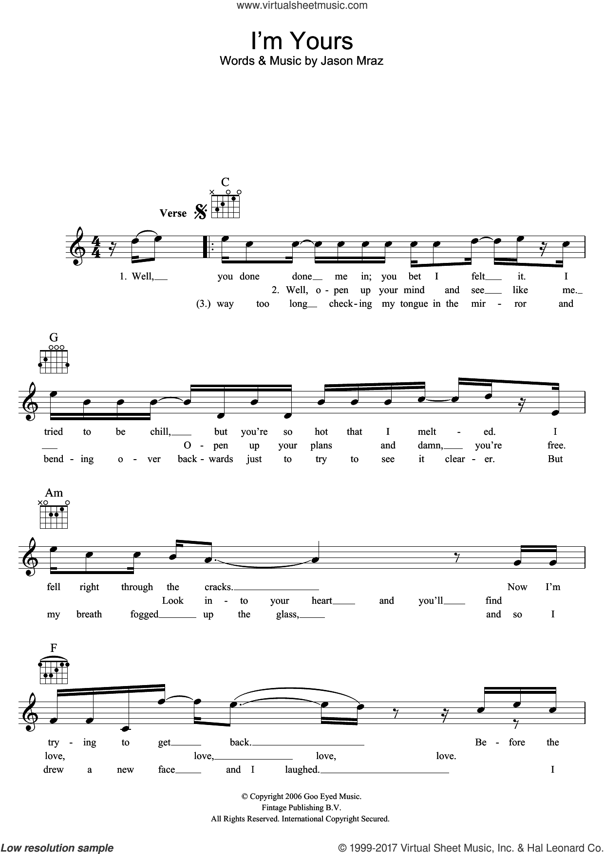I'm Yours sheet music for voice and other instruments (fake book) by Jason Mraz, classical score, intermediate