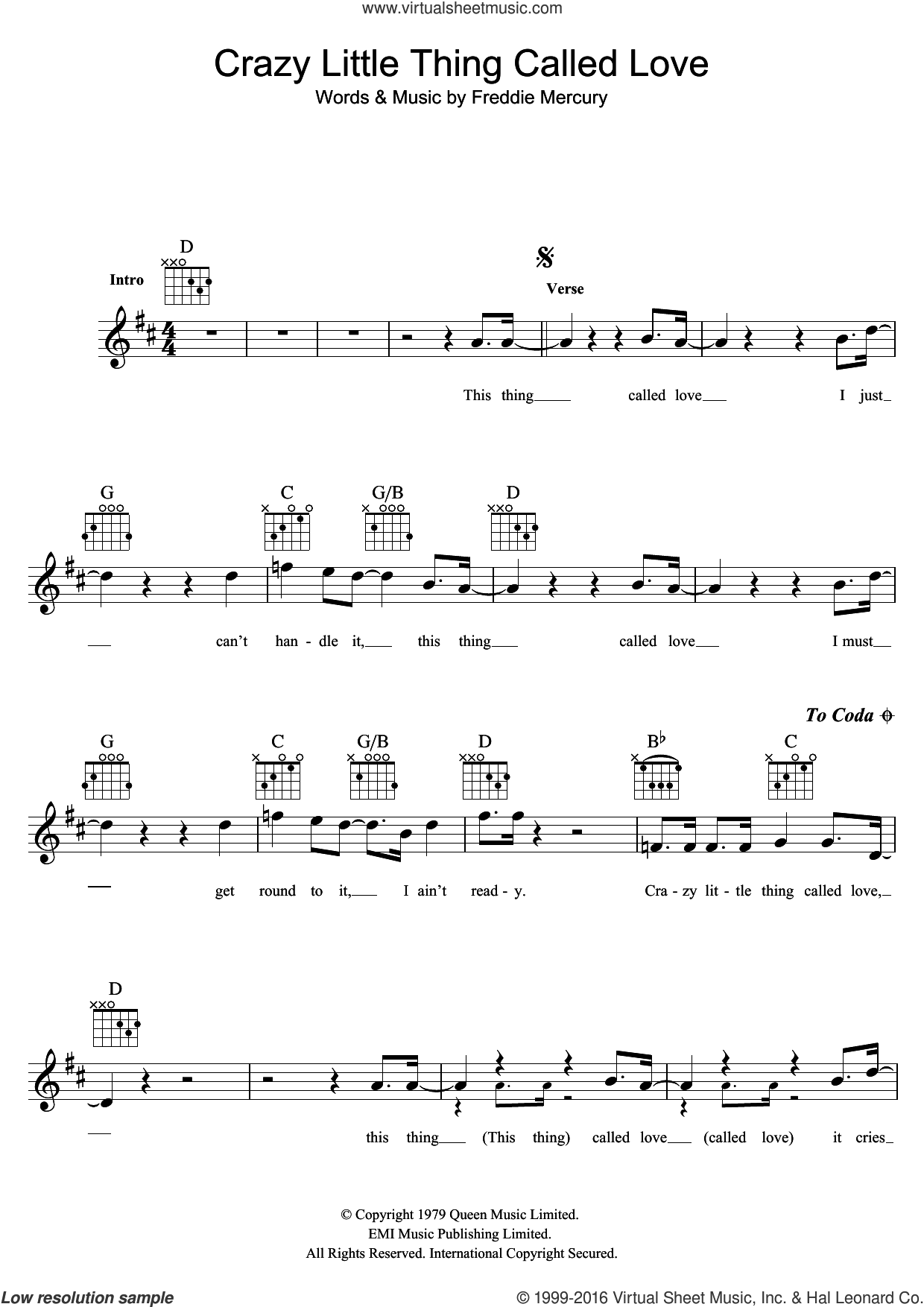 Crazy Little Thing Called Love sheet music for voice and other instruments (fake book) by Queen and Freddie Mercury, intermediate skill level
