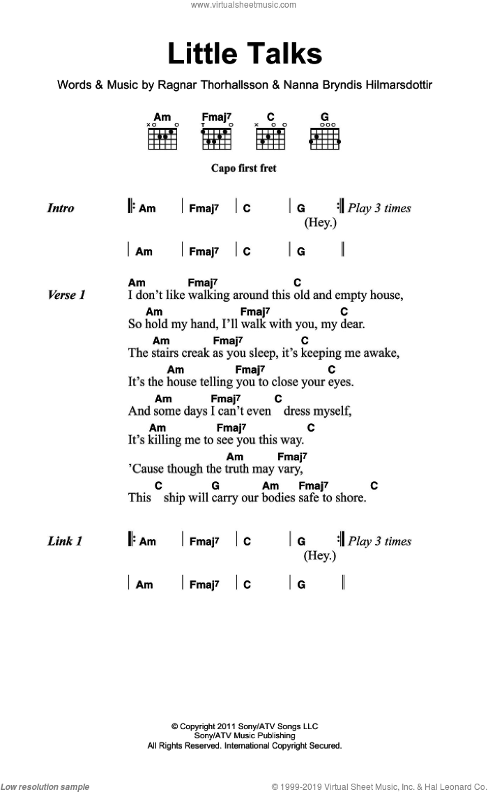 Little Talks sheet music for guitar (chords) by Ragnar Thorhallsson, Of Monsters And Men and Nanna Bryndis Hilmarsdottir. Score Image Preview.
