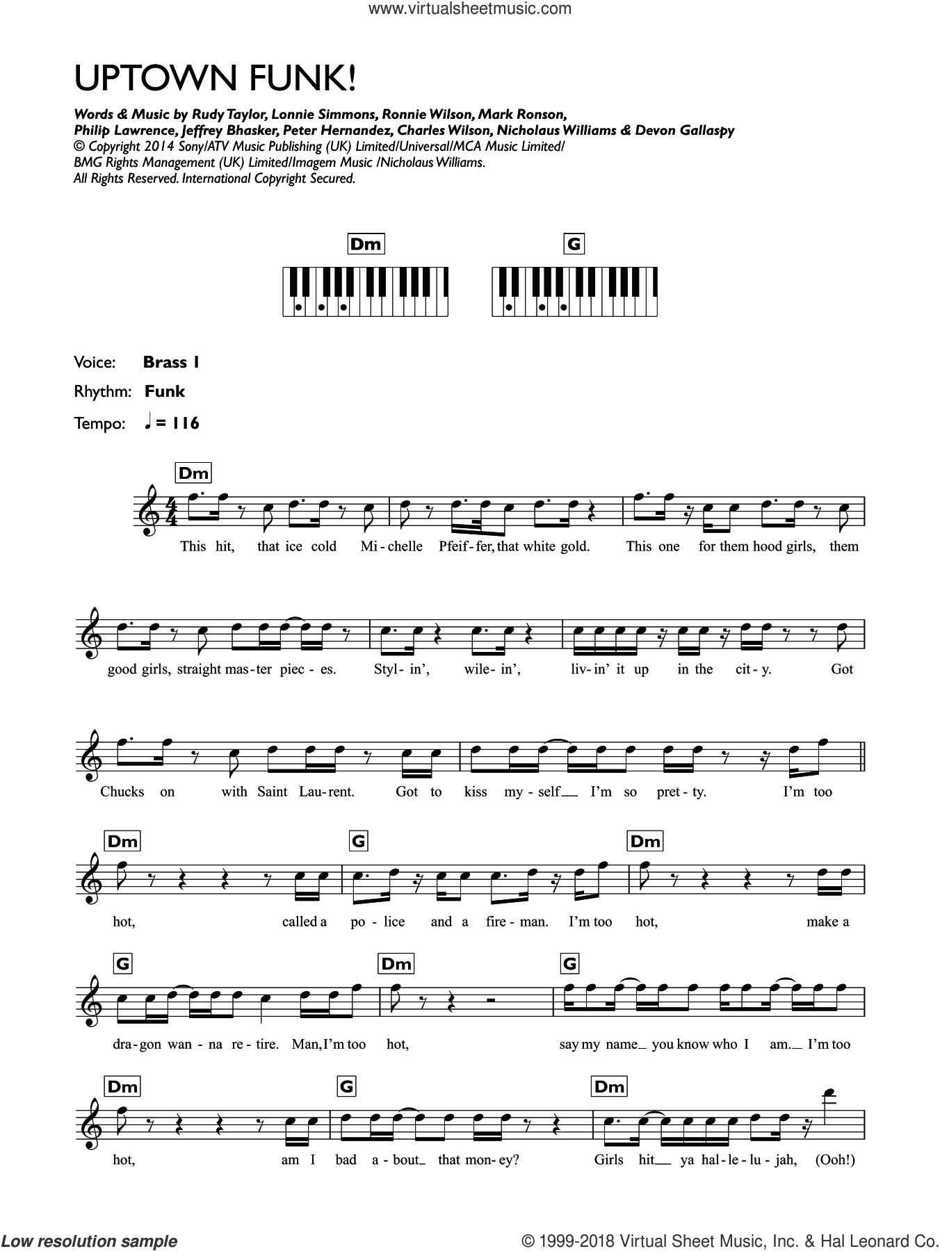 Uptown Funk (featuring Bruno Mars) sheet music for piano solo (chords, lyrics, melody) by Mark Ronson, Bruno Mars, Devon Gallaspy, Jeffrey Bhasker, Peter Hernandez and Philip Lawrence, intermediate piano (chords, lyrics, melody). Score Image Preview.