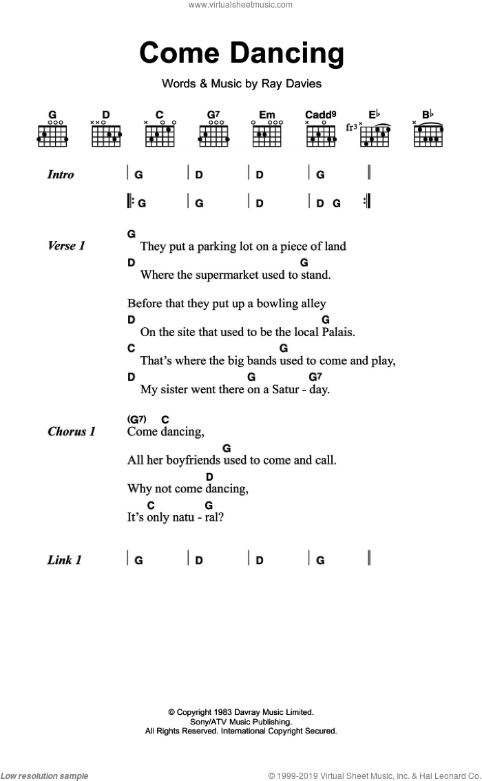 Come Dancing sheet music for guitar (chords) by The Kinks and Ray Davies. Score Image Preview.