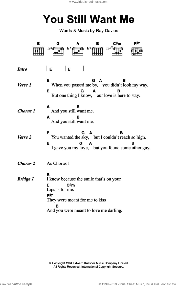 You Still Want Me sheet music for guitar (chords) by The Kinks and Ray Davies, intermediate skill level