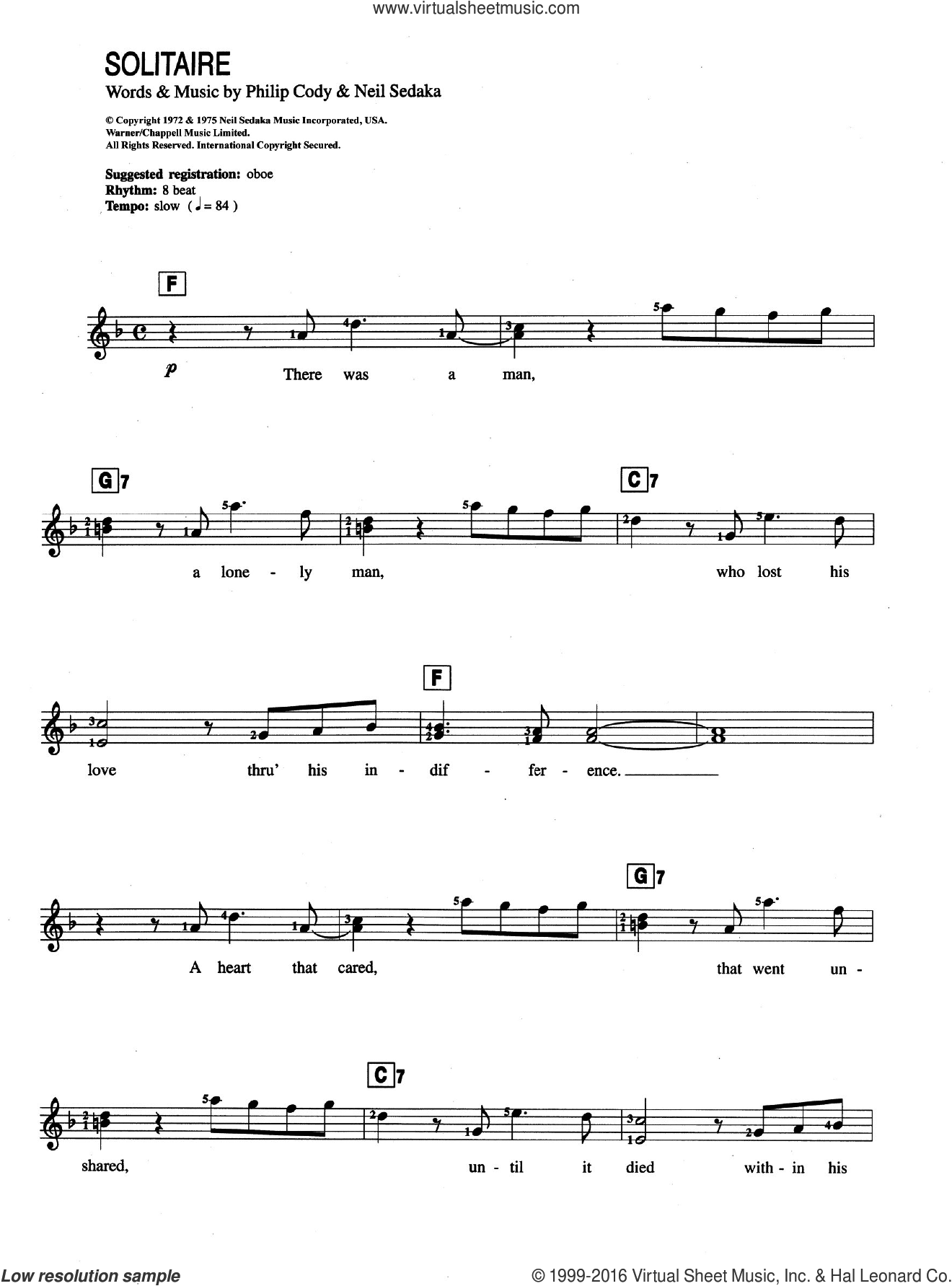 Carpenters - Solitaire sheet music for piano solo (chords, lyrics, melody)