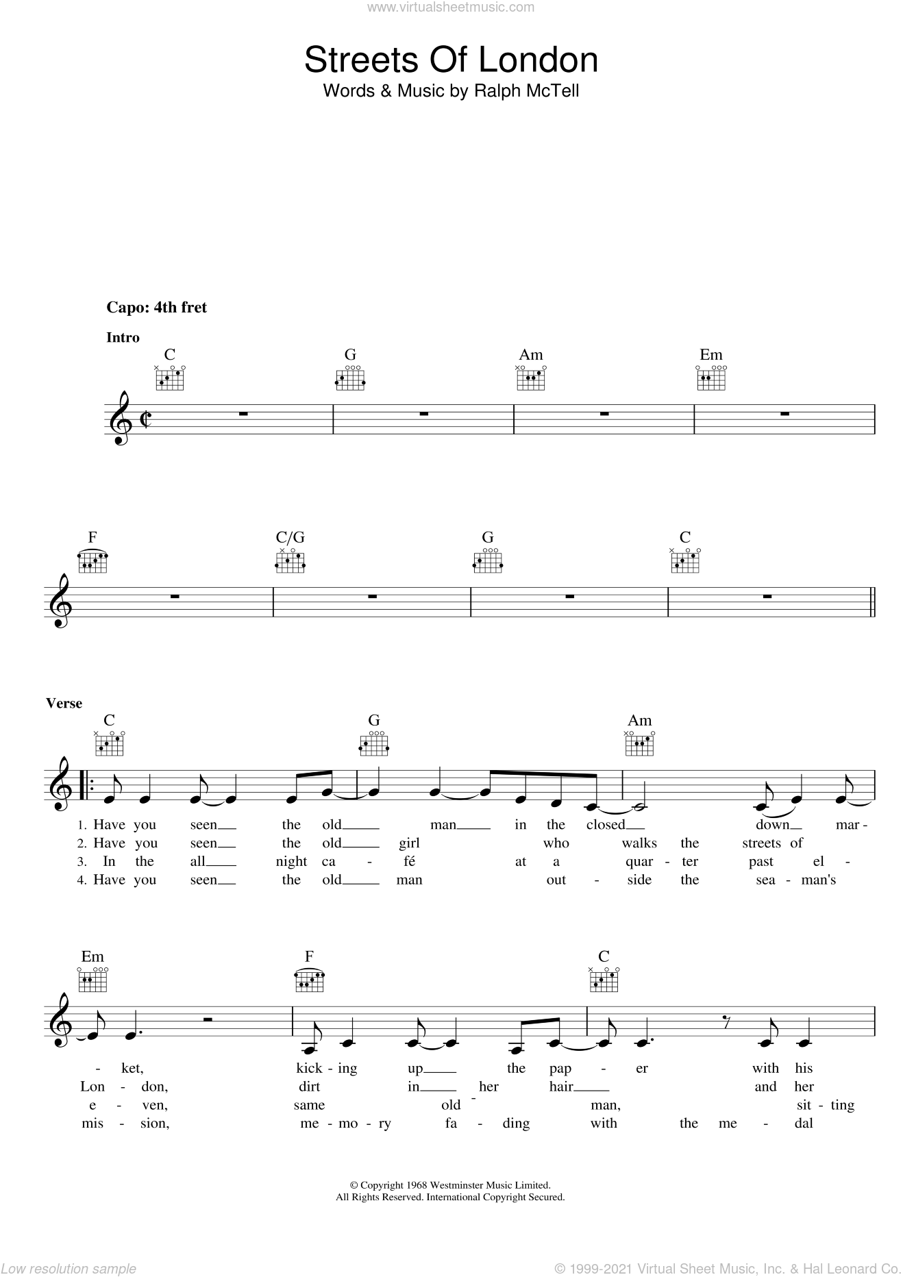Streets Of London sheet music for voice and other instruments (fake book) by Ralph McTell. Score Image Preview.