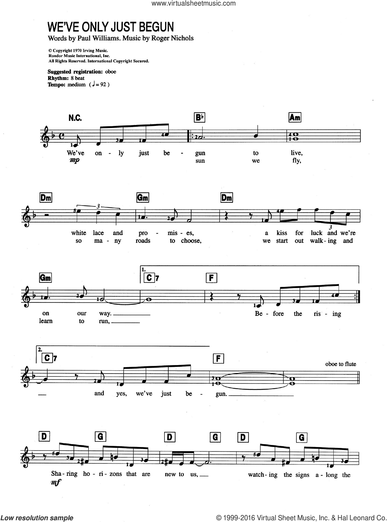 We've Only Just Begun sheet music for piano solo (chords, lyrics, melody) by Carpenters, Paul Williams and Roger Nichols, intermediate piano (chords, lyrics, melody)