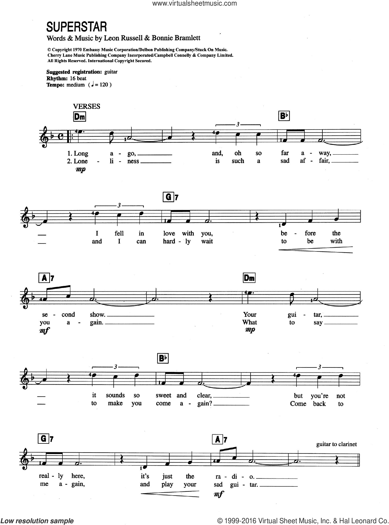 Superstar sheet music for piano solo (chords, lyrics, melody) by Leon Russell