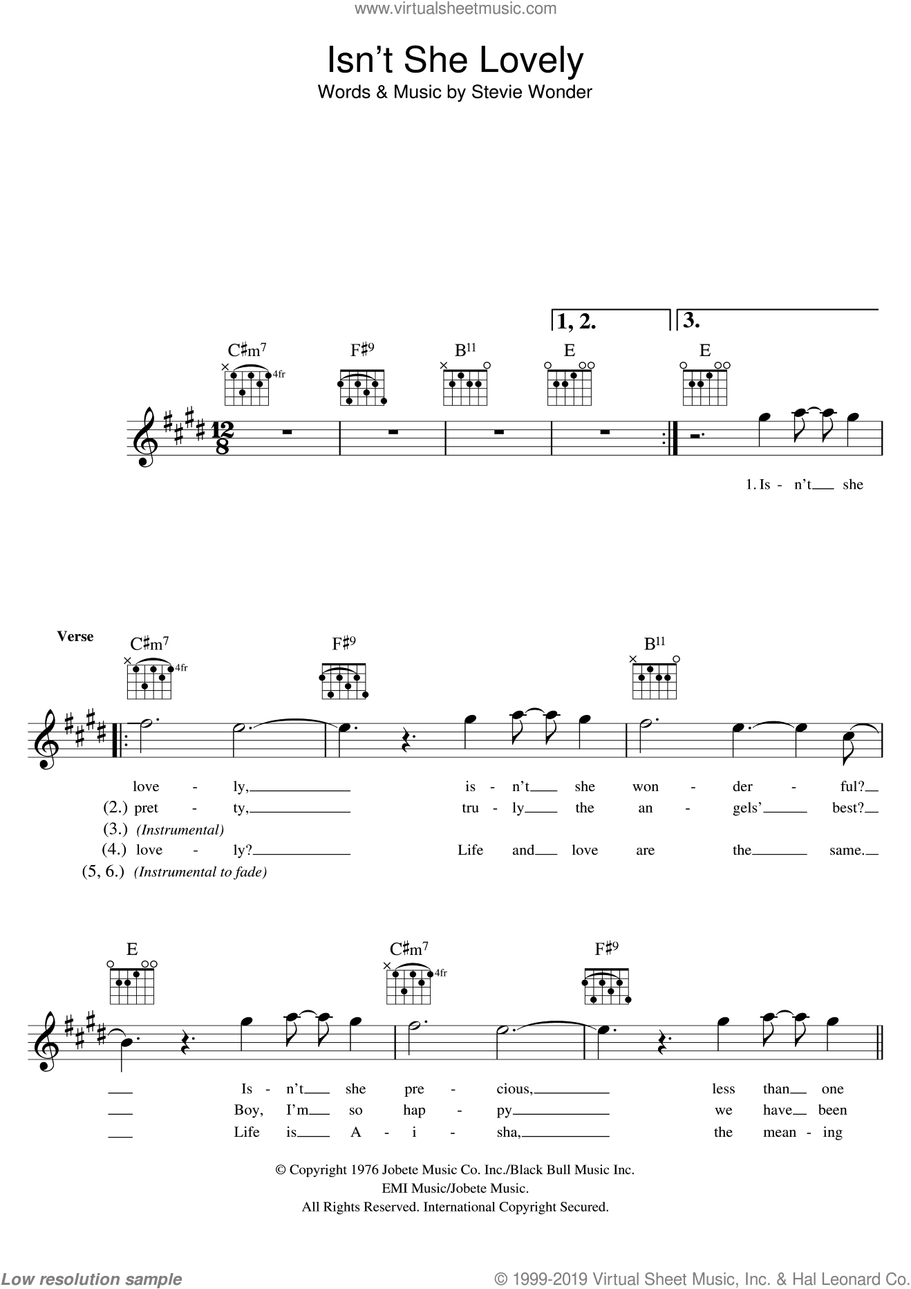 Isn't She Lovely sheet music for voice and other instruments (fake book) by Stevie Wonder, intermediate skill level