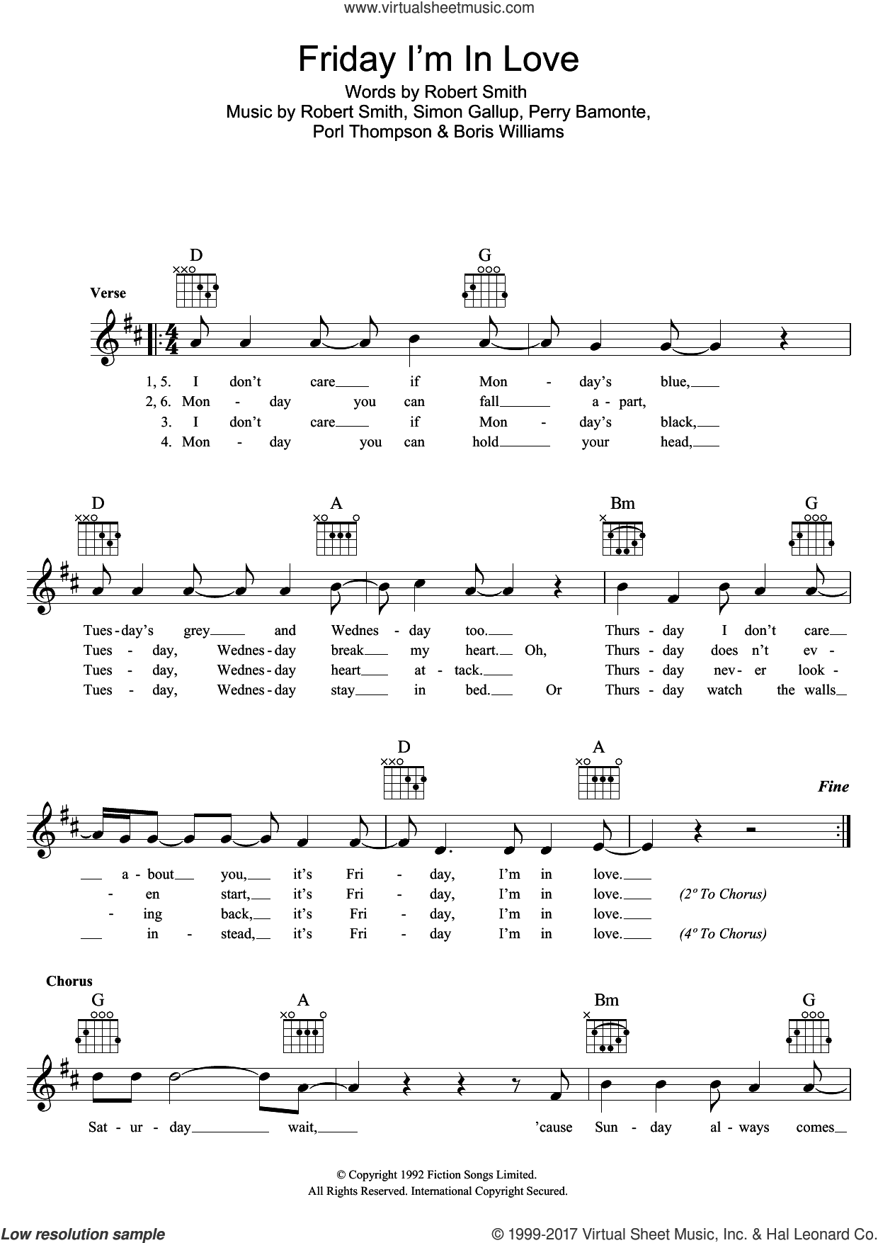 Friday I'm In Love sheet music for voice and other instruments (fake book) by The Cure, Boris Williams, Perry Bamonte, Porl Thompson, Robert Smith and Simon Gallup, intermediate skill level
