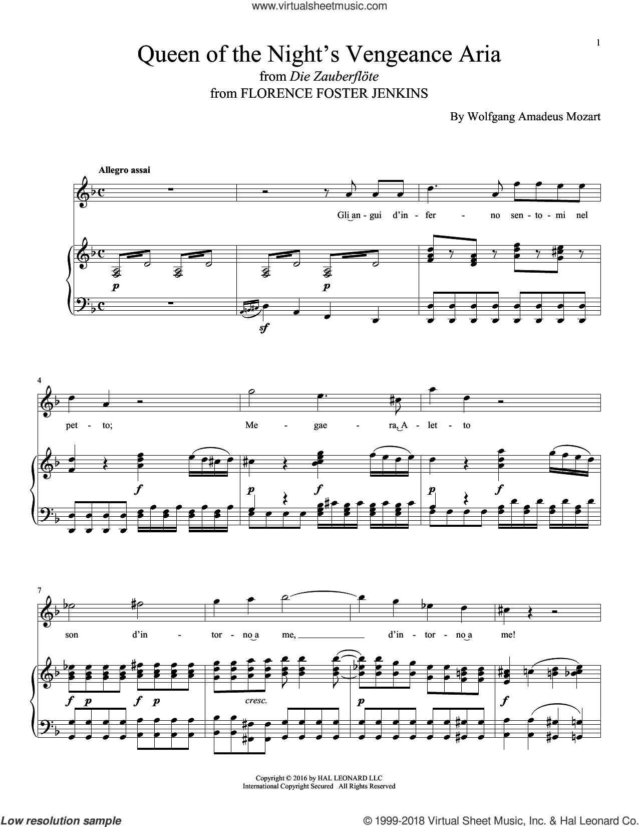 Queen Of The Night's Vengeance Aria sheet music for voice and piano by Wolfgang Amadeus Mozart and Alexandre Desplat, classical score, intermediate skill level