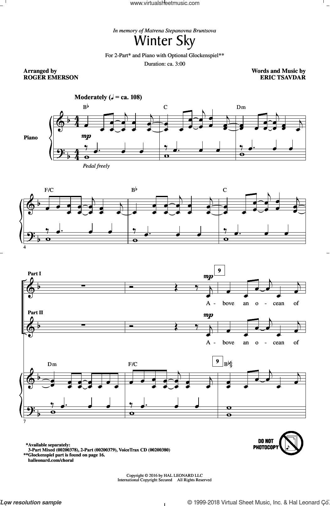 Winter Sky sheet music for choir and piano (duets) by Eric Tsavdar