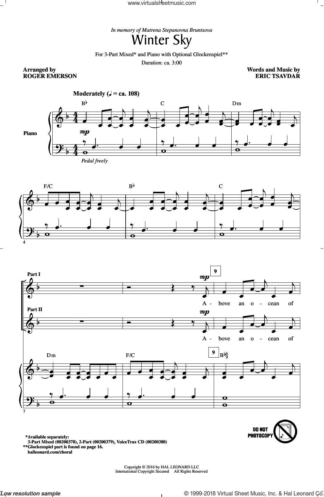 Winter Sky sheet music for choir (3-Part Mixed) by Roger Emerson and Eric Tsavdar, intermediate skill level