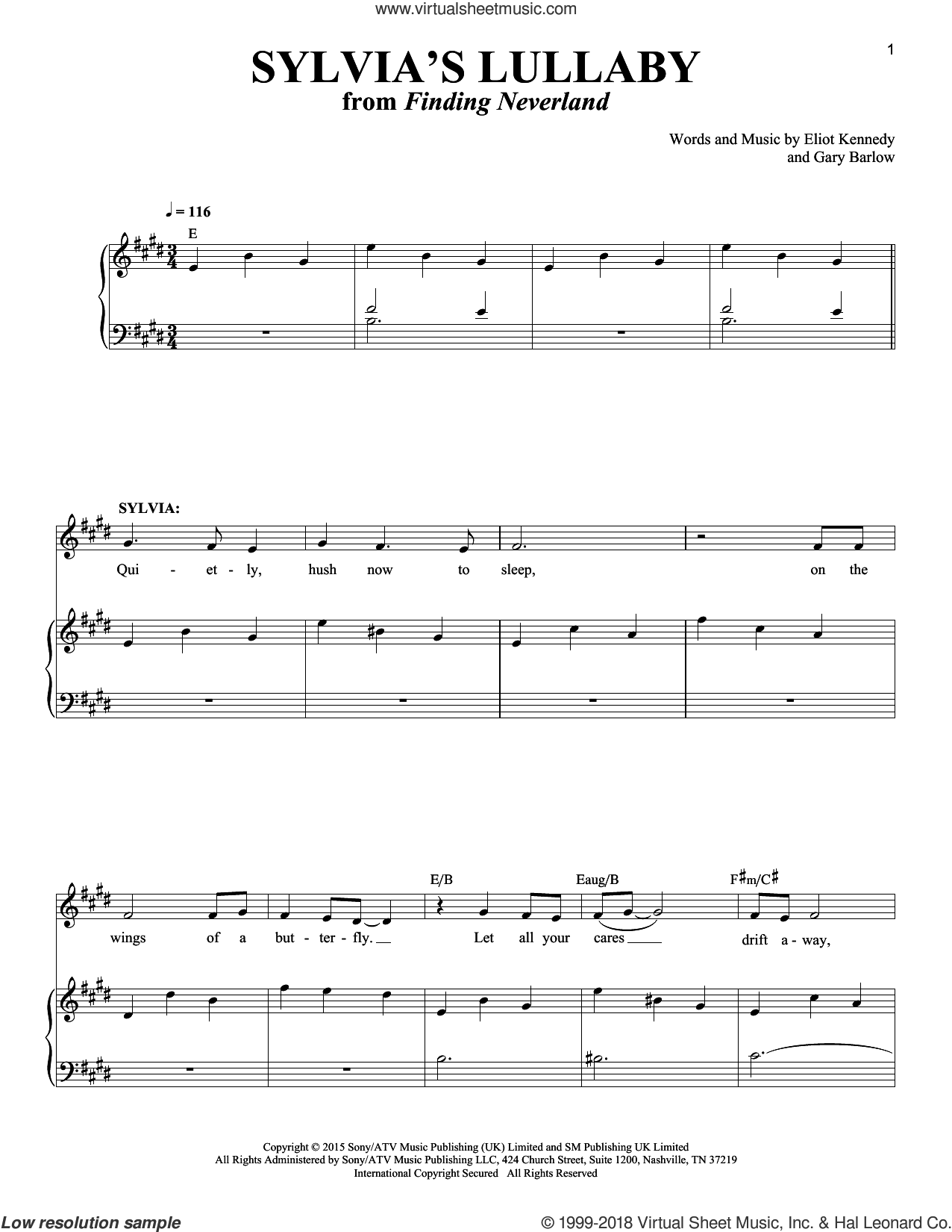 Sylvia's Lullaby sheet music for voice and piano by Gary Barlow & Eliot Kennedy, Eliot Kennedy and Gary Barlow, intermediate