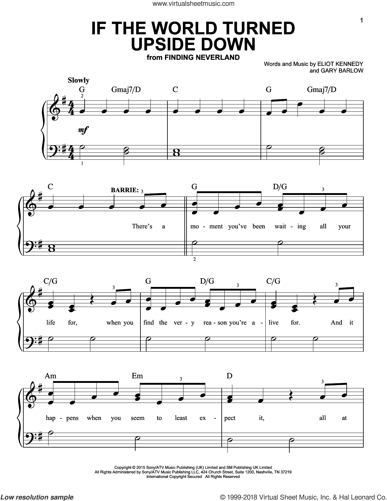 If The World Turned Upside Down sheet music for piano solo by Gary Barlow, Gary Barlow & Eliot Kennedy and Eliot Kennedy. Score Image Preview.