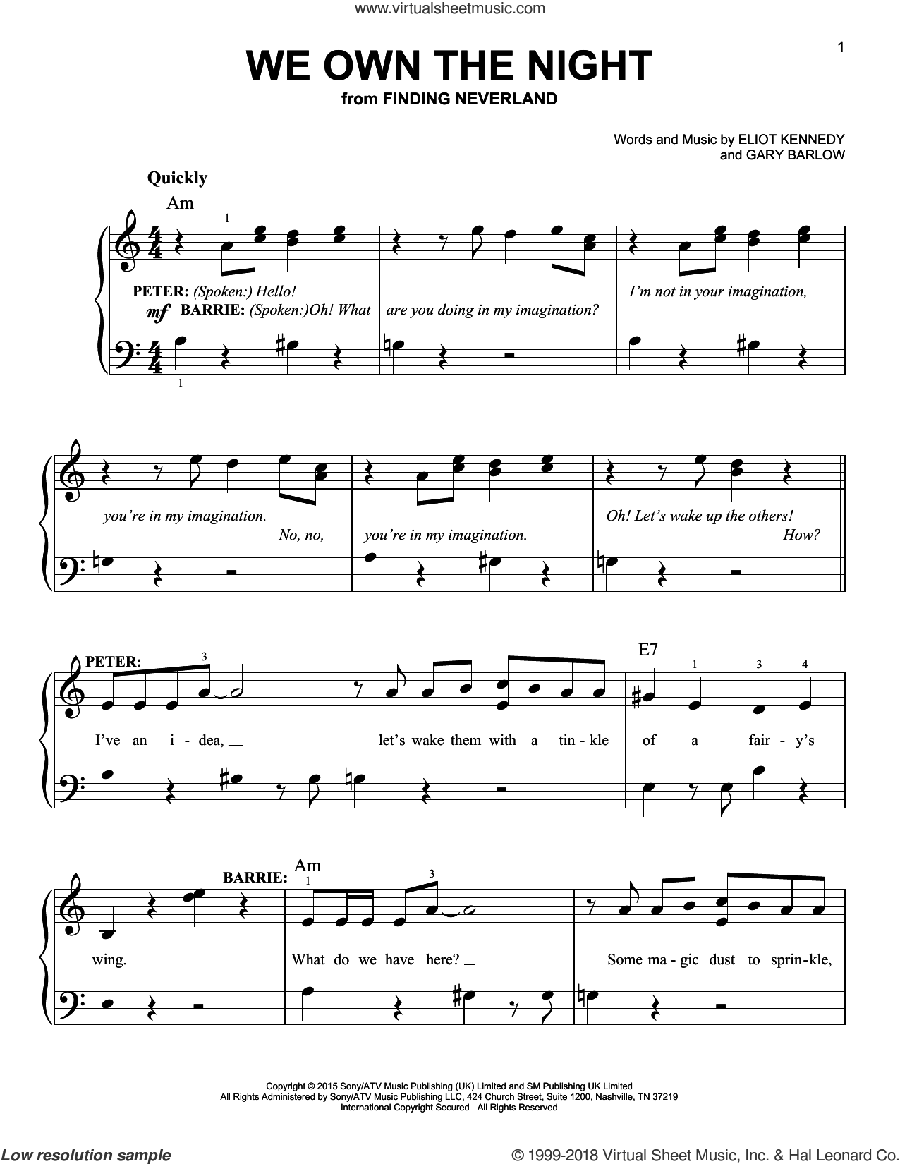 We Own The Night sheet music for piano solo by Gary Barlow & Eliot Kennedy, Eliot Kennedy and Gary Barlow, easy skill level