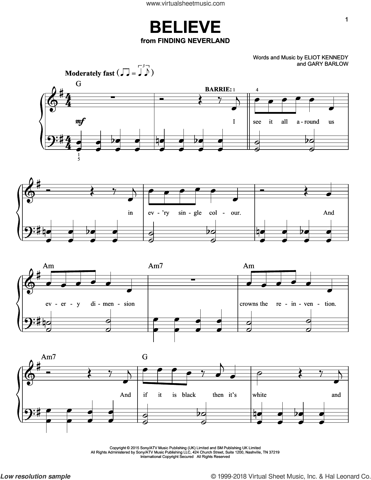 Believe sheet music for piano solo by Gary Barlow, Gary Barlow & Eliot Kennedy and Eliot Kennedy. Score Image Preview.