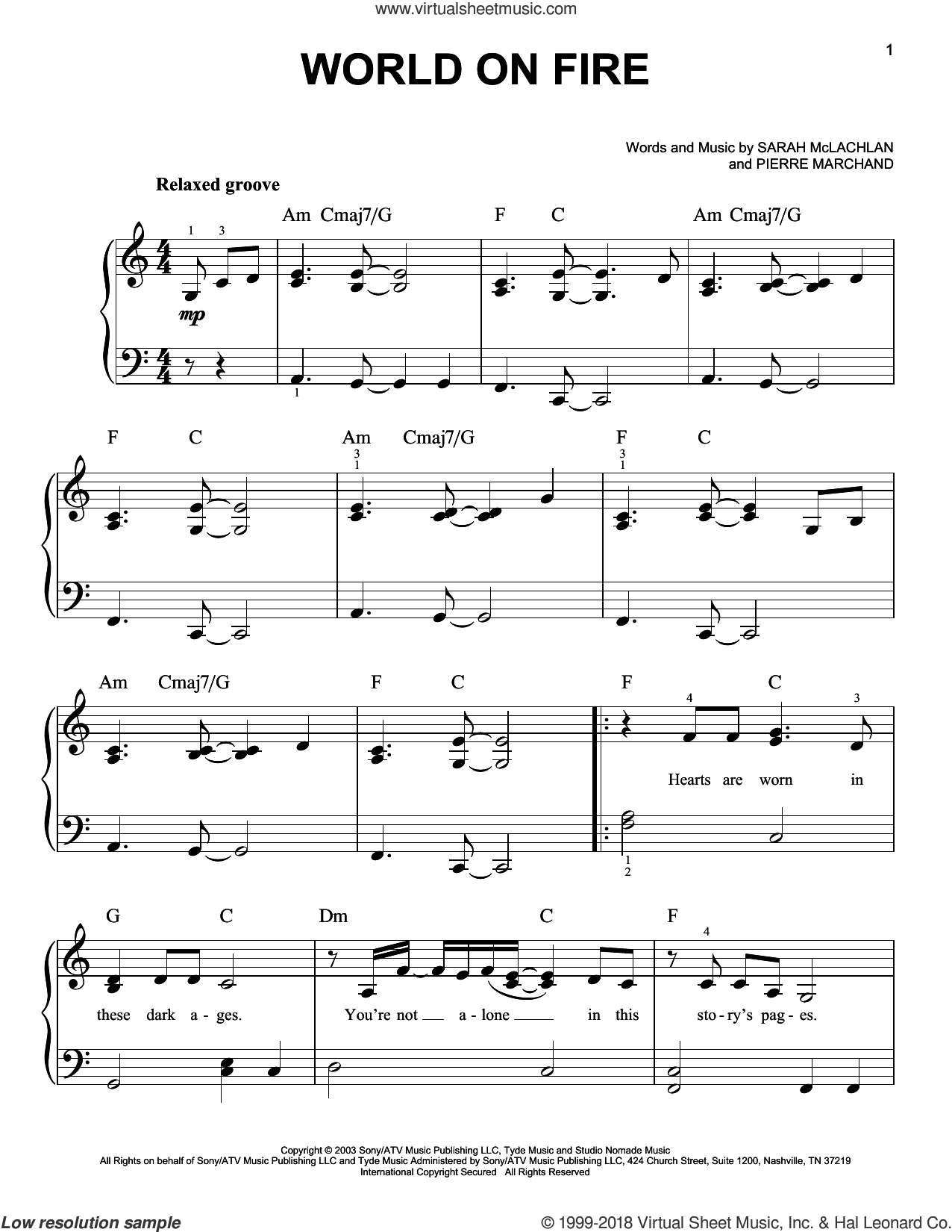 World On Fire sheet music for piano solo by Sarah McLachlan and Pierre Marchand, easy skill level