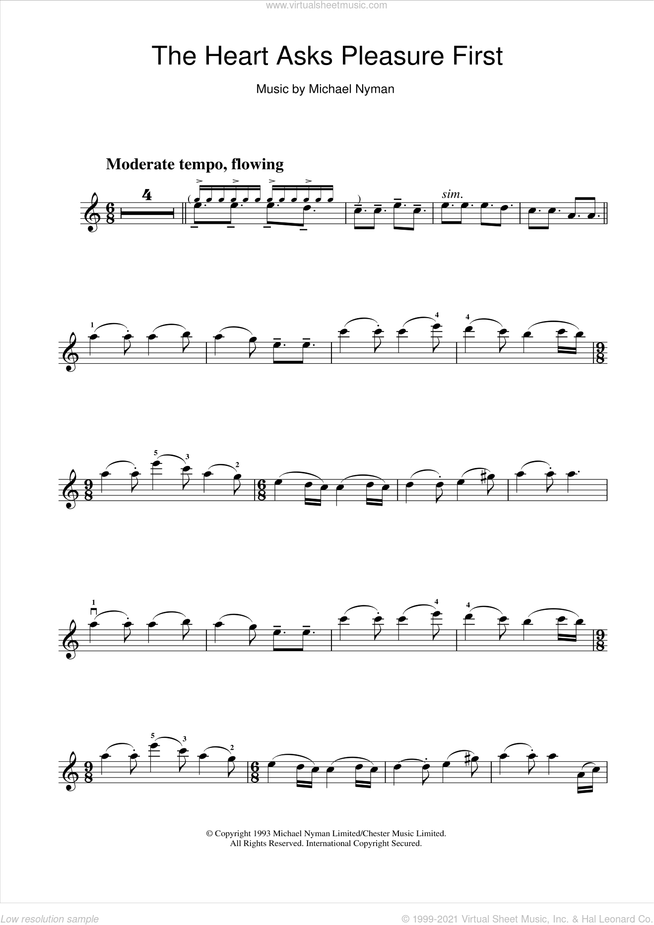 The Heart Asks Pleasure First: The Promise/The Sacrifice (from The Piano) sheet music for violin solo by Michael Nyman, intermediate