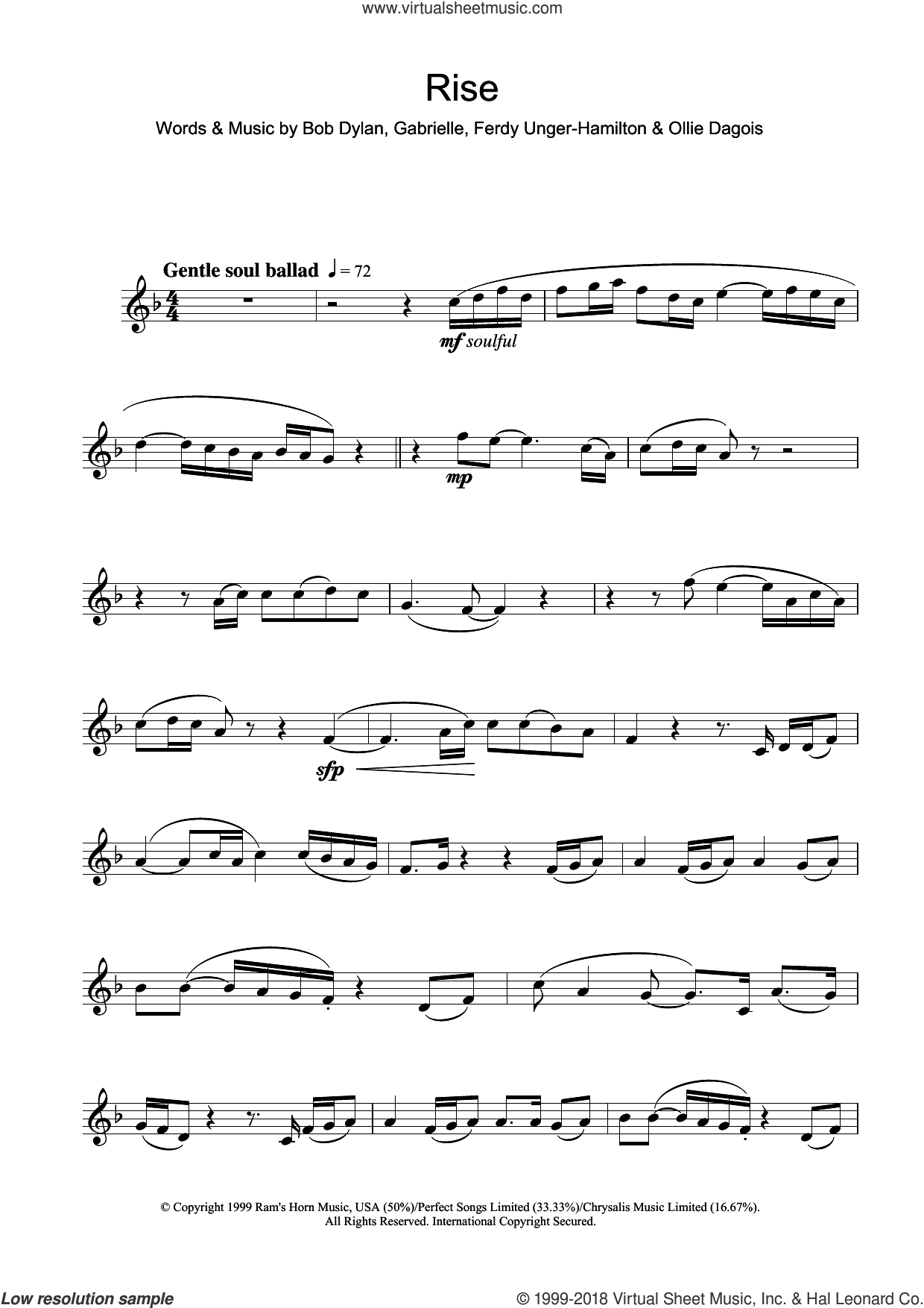 Rise sheet music for flute solo by Gabrielle, Bob Dylan, Ferdy Unger-Hamilton and Ollie Dagois, intermediate