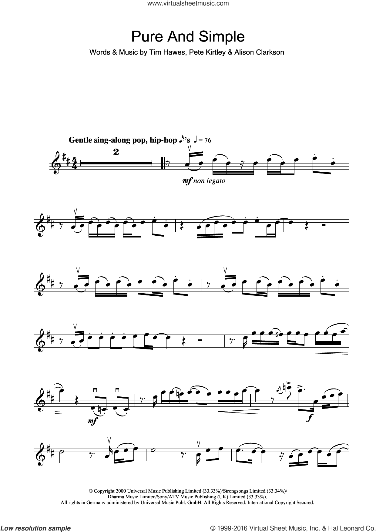 Pure And Simple sheet music for violin solo by Tim Hawes. Score Image Preview.
