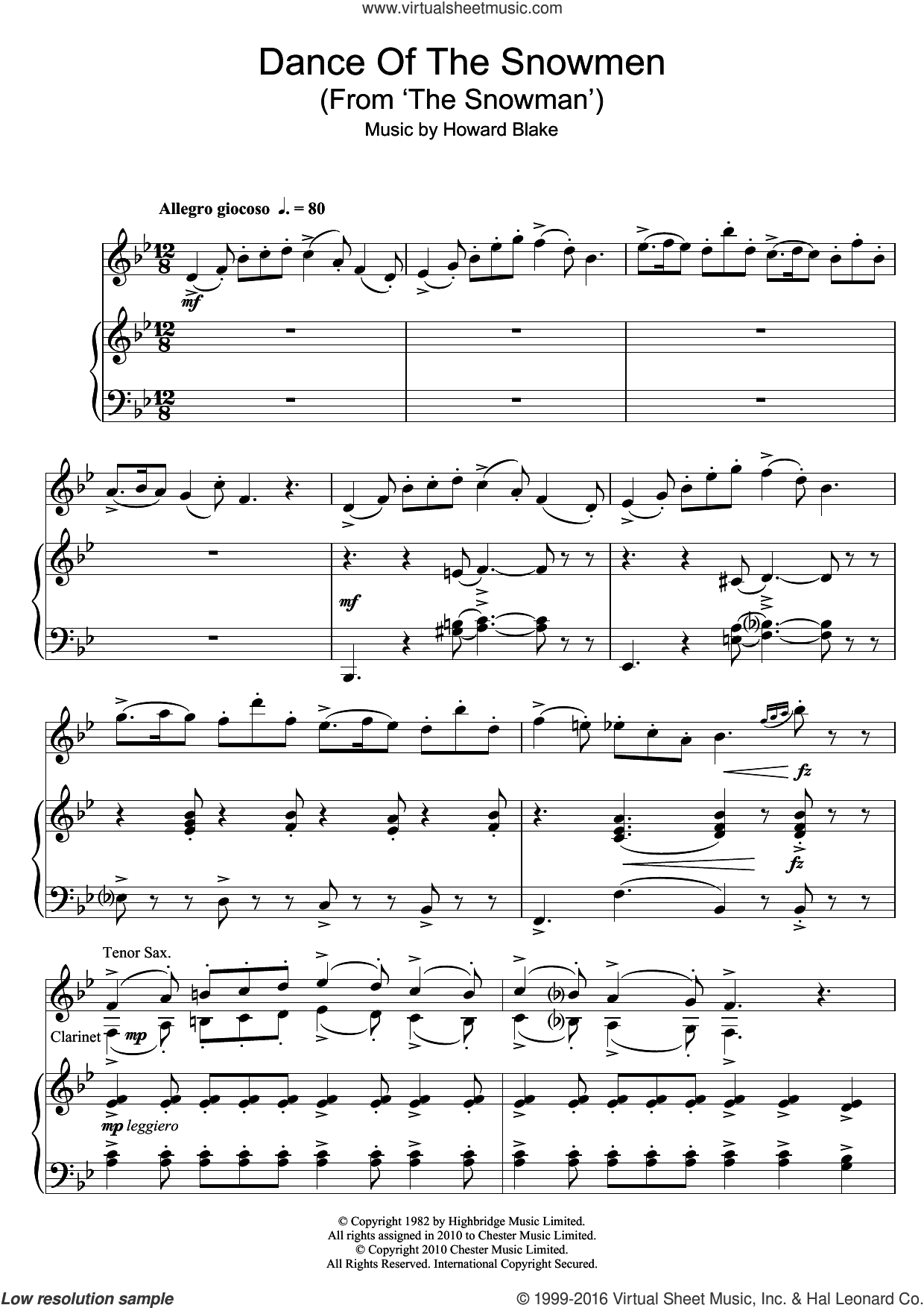 Dance Of The Snowmen (from The Snowman) sheet music for clarinet solo by Howard Blake, intermediate skill level