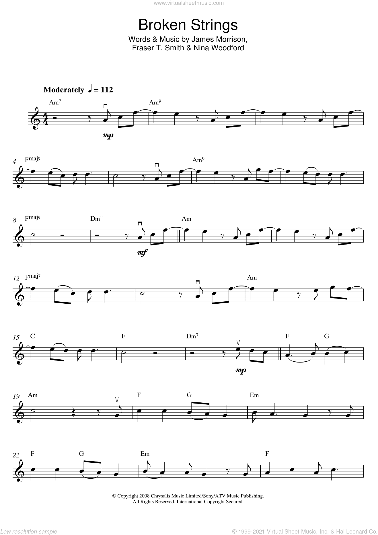 Broken Strings sheet music for violin solo by James Morrison, Fraser T. Smith and Nina Woodford, intermediate skill level